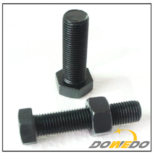 Black Hex Head Steel Bolt and Nut